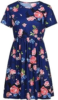 Jojckmen Women Short Sleeve Floral O Neck Dress Elastic Waist Pocket Girl Mid Dress