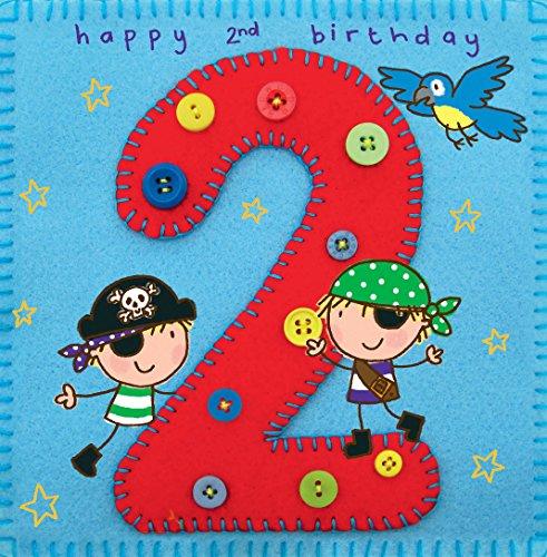 Twizler Geburtstagskarte für Jungen mit Pirat und Papagei – 2 Jahre alt – 2 Jahre alt – Kindergeburtstagskarte – Jungen-Geburtstagskarte – Happy Birthday Karte