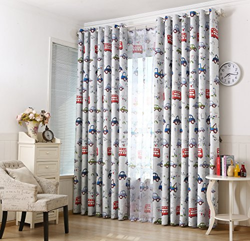 AiFish Cartoon Cars Bus Printed Kids Room Semi-Blackout Curtains 84 inch Long, Nursery Room Darkening Thermal Insulated Window Panel Drapes for Boys Bedroom,W39 x L84 inch 1 Panel (Greyish White)
