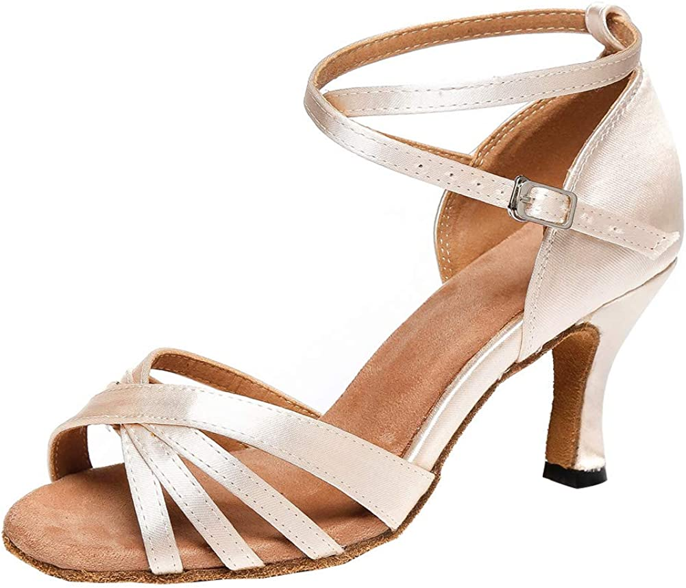HIPPOSEUS Women's Latin Dance Shoes Satin Ballroom Party Salsa D