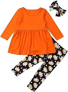 Halloween Christmas 3PCS Baby Girls Outfits Blouse Pants Headband Sets Pumpkin Print Pants