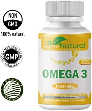 100% Natural ** Omega 3 Fish Oil - Triple Strength 1500 Mg Omega 3 Fatty Acids, 600 Mg DHA 800 Mg EPA - No Fishy Aftertaste - Pharmaceutical Grade Fish Oil - (60 Soft-gels) Super Natural Supplements