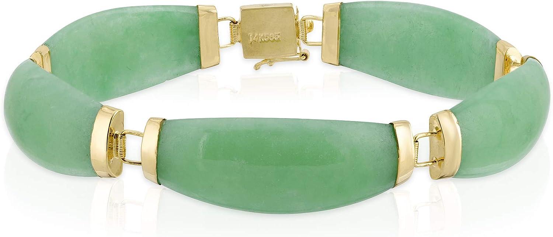 Regalia by Ulti Ramos 14K Yellow Gold Tapered Jade Link Bracelet