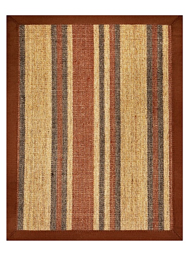 Anji Mountain Sisal Area Rug, 8 x 10-Feet, Brown Cotton Border/Brown, Maroon, Navy and Natural Stripes