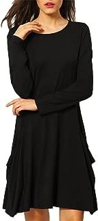 Women's Long Sleeve Loose Plain Tunic Shift T-Shirt Dress with Pockets