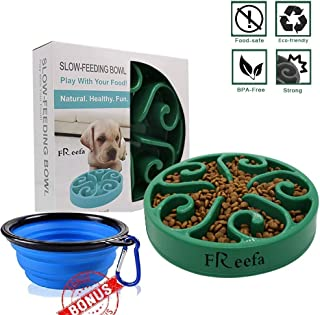 Slow Feeder Dog Bowl Bloat Stop Dog Food Bowl Maze Interactive Puzzle Non Skid Feeder, Come with Free Travel Bowl