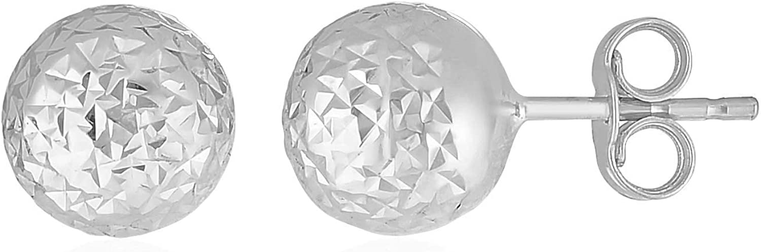 14k White Gold Ball Earrings with Crystal Cut Texture (.28 inches)