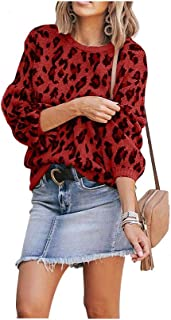 Women's Leopard Sweater Knit Puff Long Sleeve Crewneck Cheetah Print Pullover Loose Fit