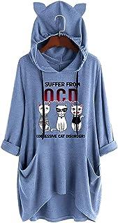 MOMOXI Tops de Mujer Sudaderas con Capucha para Mujer, Camisa de Bolsillo con Estampado de Orejas de Gato de Manga Larga con Capucha Informal para Mujer Blusa Superior Irregular