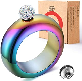 BOKIN Bracelet Bangle Flask Holographic 304 Stainless Steel Wine/Alcohol Wrist Flasket with Handmade Rhinestone Lid, Funnel in Gift Box For Women Girls Dance Birthday Party Club Bar, 3.5oz