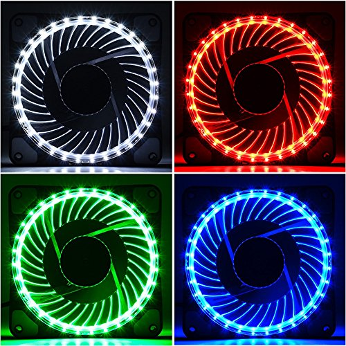 120mm PWM Case Fan 3-Pack Solar Eclipse Hydraulic Bearing Quiet Cooling Case Fan for Computer 32 LEDs Mirage Color LED Fan 4 Pin with Anti Vibration Rubber Pads(Red)