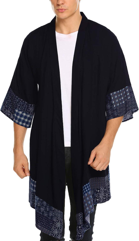 COOFANDY Men's Ruffle Shawl Collar Cotton Cardigan Long Kimono Jackets Open Front Drape Cape Coat
