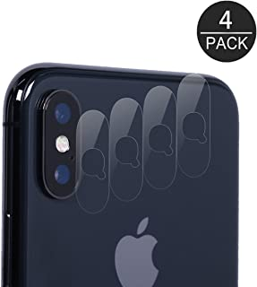 (Pack of 4) iPhone X Camera Lens Protector, Akwox Ultra Thin 0.2mm 9H Hard Tempered Glass Camera Lens Protecive Protector for iPhone X,with Anti-Scratch,Dustproof,High Transmittance