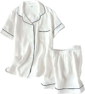 (リッチココ) パジャマ ルームウェア レディース 半袖 ダブルガーゼ 綿100% 二重ガーゼ ショートパンツ 前開き 寝巻き 上下セット 部屋着 肌触り優しい 良い通気性 寝間着 春 夏 秋