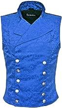 Darkrock Men's Royal Blue Brocade Double-Breasted Vest Waistcoat Gothic Aristocrat Steampunk Victorian