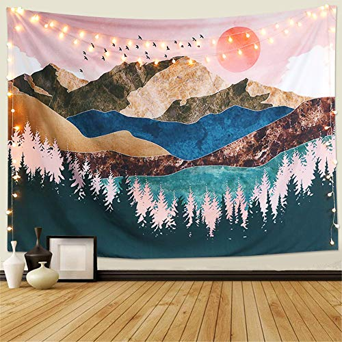 Dremisland Sunset Wall Tapestry Forest Tree Tapestry Mountain Wall Hanging Psychedelic Nature Landscape Tapestry Home Decoration for Bedroom Living Room (Colorful, M/130X150cm(51'X59'))