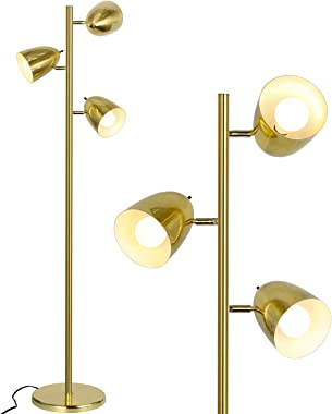 Industrial LED Reading and Floor Lamp for Living Rooms, Bedrooms, Mid Century Modern Adjustable 3 Light Tree, Standing Tall P