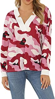 ERLOU T-Shirts Women's Casual Long Sleeve Printed Loose V-Neck Pullover Tunic Tank Tops Sweatshirt Blouse