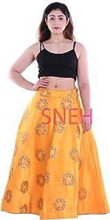 SNEH Women's Silk Heavy Work Skirt (Yellow,Free Size)
