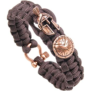 Kayder Viking Fighter Paracord Reflective Bracelet for Men Reflective Safety Devices for Outdoor Sports and Travel Reflecting Light Like Galaxy Starlight at Night Adjustable D-Shackle Closed