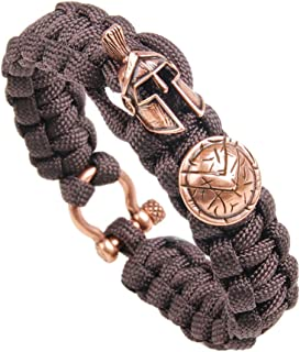 Paracord Survival Bracelets with Spartan Warrior Charm, Tactical Survival Gear for Emergency, Cobra Bracelet for Outdoor, Size Fit for 7 to 8 Inch Wrists