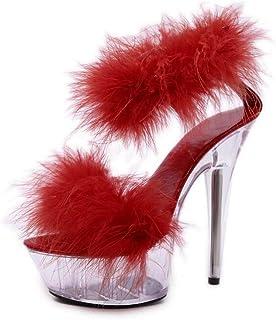 Women's Transparent Platform Sandals,Summer Open Toe Ankle Strap Sandals,Ladies BucklePromPartyStiletto Shoes,Red,35 EU