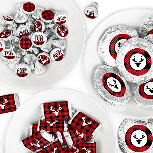Big Dot of Happiness Prancing Plaid - Mini Candy Bar Wrappers, Round Candy Stickers and Circle Stickers - Reindeer Holiday and Christmas Party Candy Favor Sticker Kit - 304 Pieces