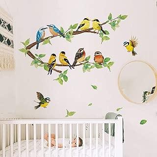 ufengke Robin Birds Wall Stickers Tree Branch Wall Decals Nursery Wall Art Decor for Kids Bedroom Living Room