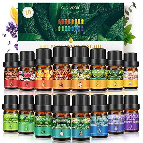 Huiles Essentielles GLAMADOR 16x5ml -Coffret Huiles Essentielles pour Diffuseur,Pures et Naturelles- Effets Différents Des Huile Essentielle Aromathérapie Bio