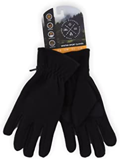 Winter Fleece Gloves - Touchscreen, Thermal Black Soft Fleece Gloves for Cold Weather Warmth - Fits Men and Women