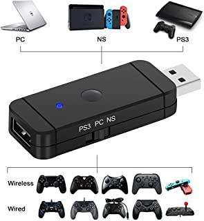 PS4/PS3/スイッチコントローラー変換アダプター ps4 スイッチ 変換アダプター  PS4/XboxOne S/WiiU/Switch Pro /Nintendo Switch Joy-Con 変換コンバーター無線接続/USBケーブル接続...