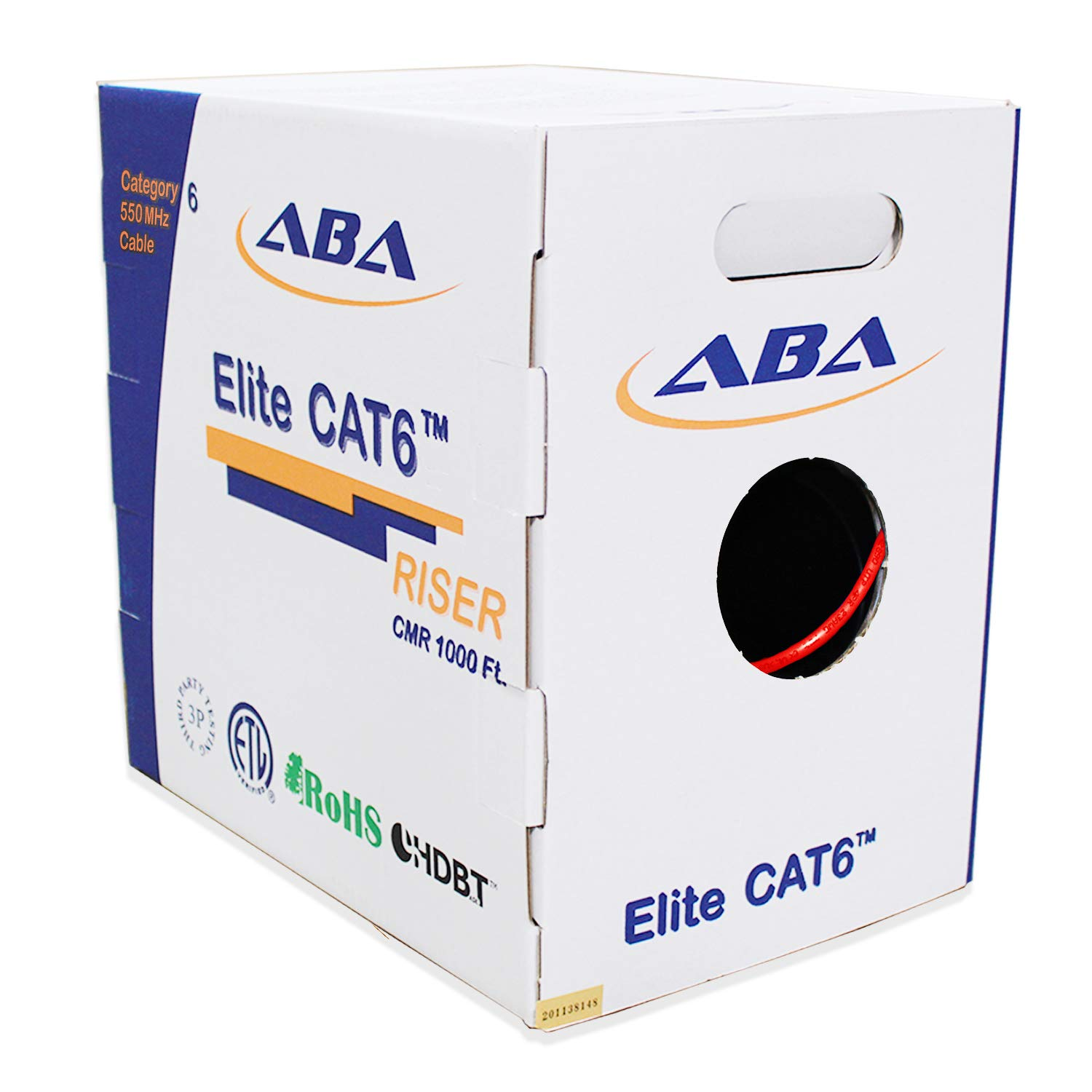 4-Pair UTP PHAT SATELLITE INTL UL ETL CMR 550MHz EZ Pass Thru RJ45 Plug Cat6A Riser CMR LAN Network Data Ethernet Patch Cable 230 feet, White Solid Pure Copper 23 AWG Assembled in USA
