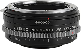 Vizelex Cine ND Throttle Lens Adapter Compatible with Nikon F Mount G-Type D/SLR Lens to Micro Four Thirds (MFT) Mount Mirrorless Camera Body with Built-in Variable ND Filter (1-8 Stops)