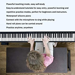 Folding Hand Roll Piano 61 Key 88 Key Portable Piano Keyboard Adult Kids Silica Piano With Sustain Pedal (Color : White, S...