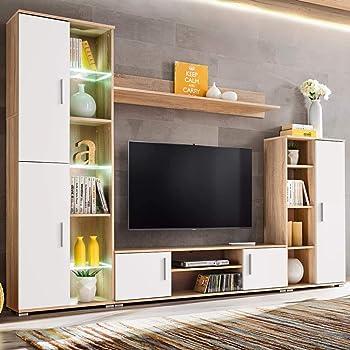 Tidyard Mueble Salón Comedor Moderno Mesa para TV Mueble TV de Pared con LED de Estilo Contemporáneo Roble Sonoma y Blanco: Amazon.es: Hogar