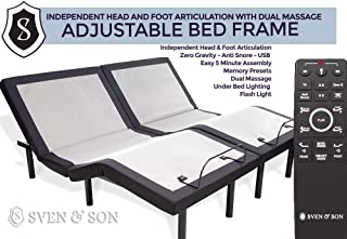 Sven & Son Twin XL Adjustable Bed Base Frame 5 Minute Assembly, Head & Foot Articulation, USB Ports, Zero Gravity, Interactive Dual Massage, Wireless, Classic (Adjustable Base Only, Twin XL)