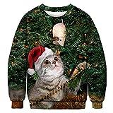 BFBMY Unisex Uomini Donne 2020 Brutto Natale Maglione Santa Elf Divertente Natale Finto Capelli Jumper Autunno Inverno Top Abbigliamento All'ingrosso (Colore: 026, Taglia: XXL (96 110kg)