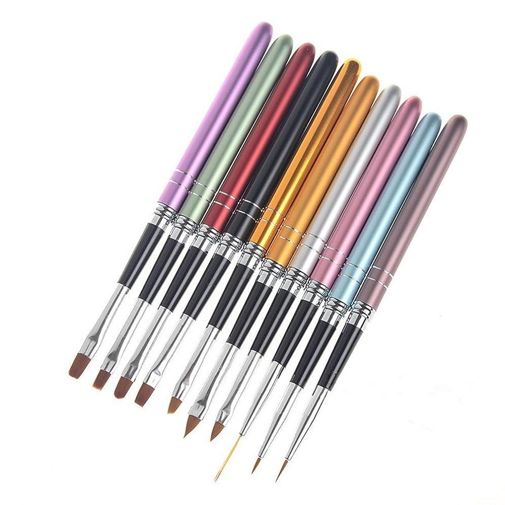 入力ジェスチャー蓮10本/セット ネイルブラシセット ジェルネイル絵描きブラシなどの UVジュエルネイルツールネイル用品
