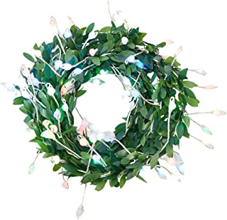 FRCOLOR Green Garland Tiny Leaf Vine 100 Led String Light Artificial Ivy Wreath Fairy Lights Hanging Twig Lamp for Party N...