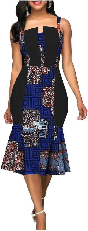 HEFASDM Womens Bodycon Pencil Mermaid Dashiki Summer Picnic Party Dress