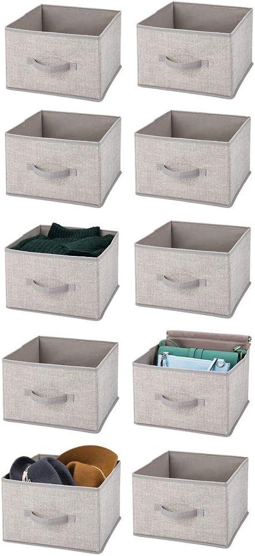 MDesign Soft Fabric Closet Storage Organizer Holder Cube Bin Box, Open Top, Front Handle for Closet, Bedroom, Bathroom, Entryway, Office - Textured Print, 10 Pack - Linen Tan