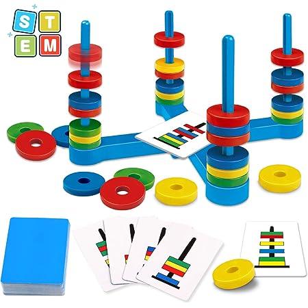 GIOBABY Brettspiel Spielzeug,Pädagogisches Kinderspiele mit Farbkarte und Magnetisches Ring,Match-Spiel für Kinder,Partyspielzeug für Mädchen Junge ab 3 4 5 6 7 Jahre