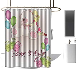 coolteey Shower Curtains with Trees on Them Kids Birthday,Baby Girl Birthday with Teddy Bears Toys Balloons Surprise Boxes Dolls Image,Pale Pink,W72 x L84,Shower Curtain for Shower stall