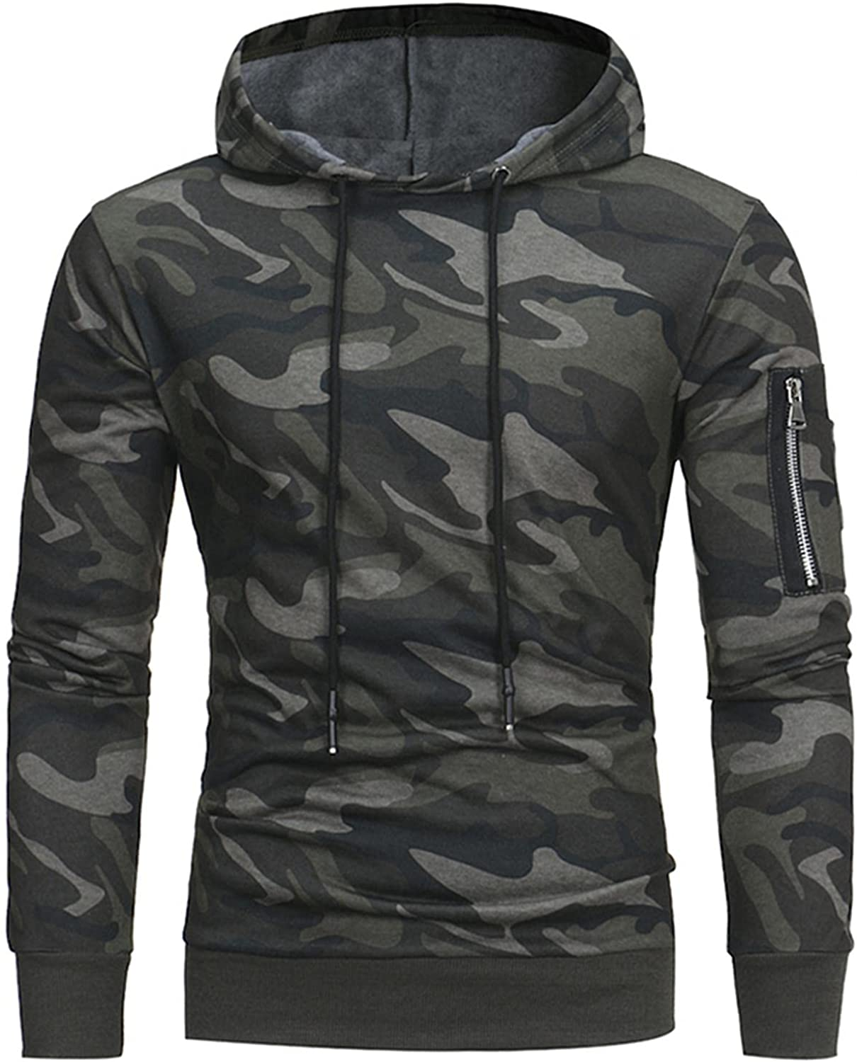 Huangse Mens Gym Workout Camouflage Hoodies Athletic Bodybuilding Muscle Lightweight Camo Hooded Sweatshirts