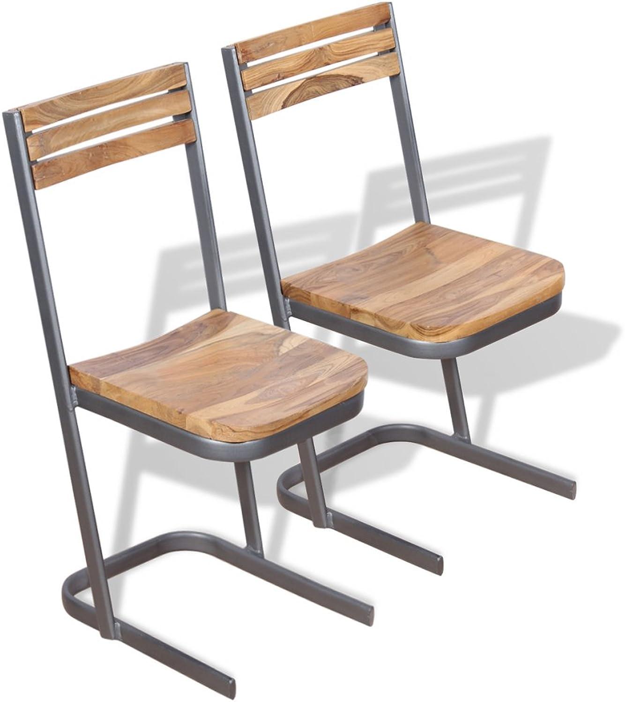 Festnight 2 Stk. Set Essstuhl Esszimmerstühle aus Teak-Massivholz Stuhl-Set Küchenstuhl Esszimmer Sitzkomfort Stuhlgruppe