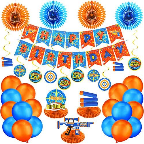 30 Pieces Dart War Happy Birthday Banner Decoration Dart Gun Party Paper Fans Honeycomb Centerpieces 3D Dart War Table Decorations Hanging Swirls Latex Balloons for Birthday Party Decoration Supplies
