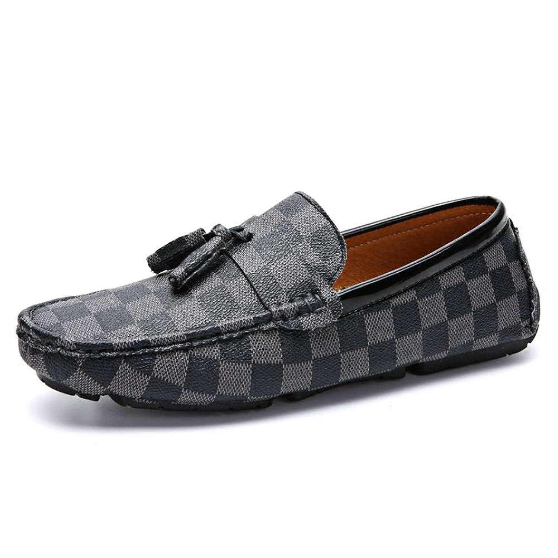 [Jusheng-shoes] メンズシューズ 男性用ボート用モカシンスリップオンPUレザークラシックタッセルチェック柄ロートップ カジュアルシューズ