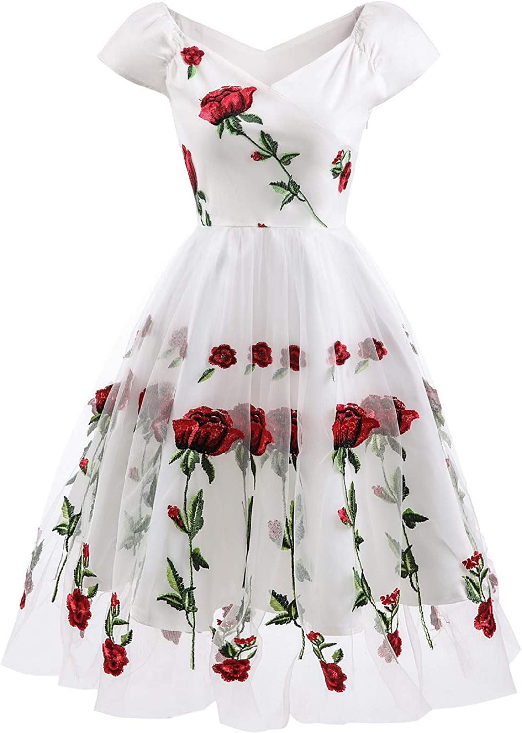 Ayerdress Women's Vintage Off Shoulder Floral Embroideried Cocktail Party Swing Dress