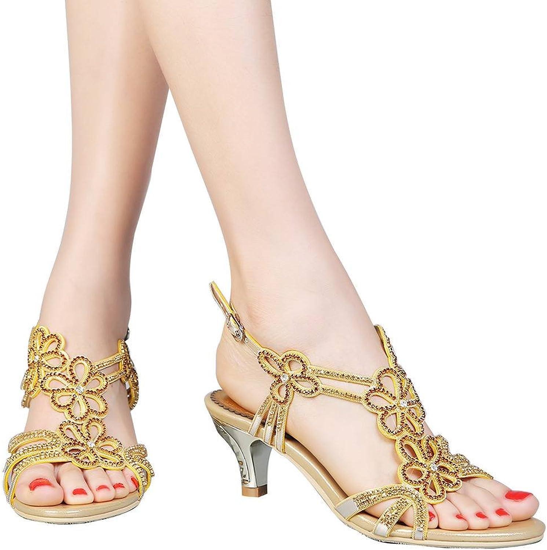 YooPrettyz Cutouts Floral Strappy Wedding Dress Sandals Open Toe Evening Sandals Low Heel