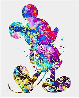 Peinture par numéros Mickey coloré DIY Peinture à l'huile Enfants Débutant pour Adultes avec Brosses et acryliques La pein...